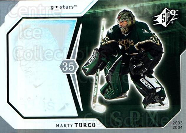 2003-04 SPx #30 Marty Turco<br/>2 In Stock - $1.00 each - <a href=https://centericecollectibles.foxycart.com/cart?name=2003-04%20SPx%20%2330%20Marty%20Turco...&quantity_max=2&price=$1.00&code=118259 class=foxycart> Buy it now! </a>
