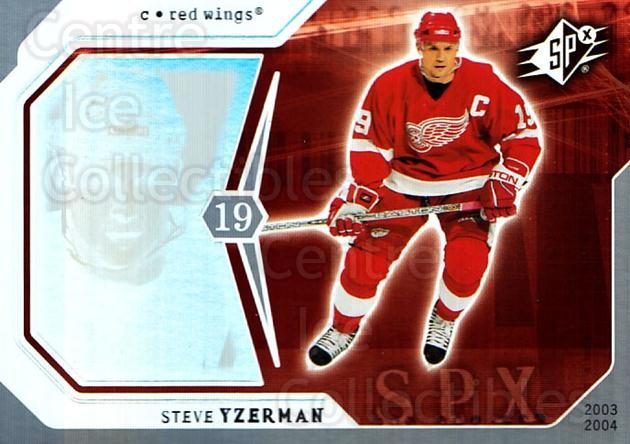 2003-04 SPx #34 Steve Yzerman<br/>1 In Stock - $2.00 each - <a href=https://centericecollectibles.foxycart.com/cart?name=2003-04%20SPx%20%2334%20Steve%20Yzerman...&quantity_max=1&price=$2.00&code=118263 class=foxycart> Buy it now! </a>