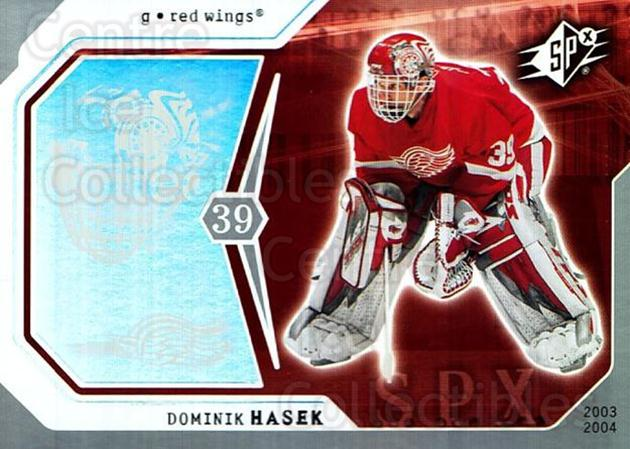 2003-04 SPx #35 Dominik Hasek<br/>2 In Stock - $1.00 each - <a href=https://centericecollectibles.foxycart.com/cart?name=2003-04%20SPx%20%2335%20Dominik%20Hasek...&quantity_max=2&price=$1.00&code=118264 class=foxycart> Buy it now! </a>