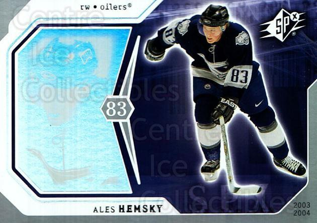 2003-04 SPx #37 Ales Hemsky<br/>8 In Stock - $1.00 each - <a href=https://centericecollectibles.foxycart.com/cart?name=2003-04%20SPx%20%2337%20Ales%20Hemsky...&quantity_max=8&price=$1.00&code=118266 class=foxycart> Buy it now! </a>