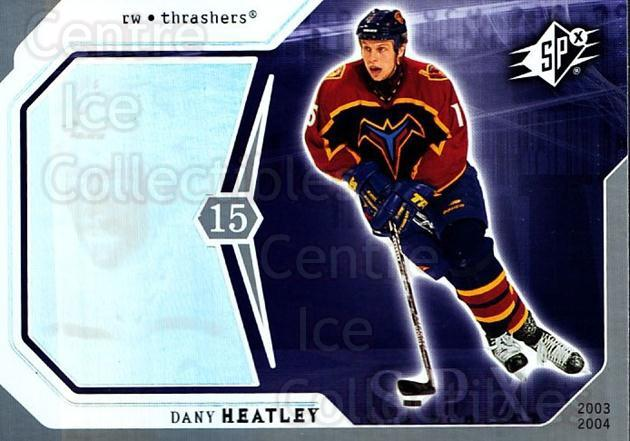 2003-04 SPx #4 Dany Heatley<br/>4 In Stock - $1.00 each - <a href=https://centericecollectibles.foxycart.com/cart?name=2003-04%20SPx%20%234%20Dany%20Heatley...&quantity_max=4&price=$1.00&code=118269 class=foxycart> Buy it now! </a>