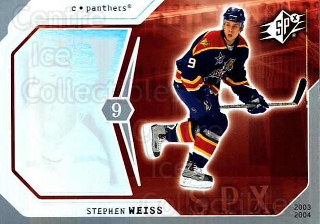 2003-04 SPx #40 Stephen Weiss<br/>4 In Stock - $1.00 each - <a href=https://centericecollectibles.foxycart.com/cart?name=2003-04%20SPx%20%2340%20Stephen%20Weiss...&quantity_max=4&price=$1.00&code=118270 class=foxycart> Buy it now! </a>