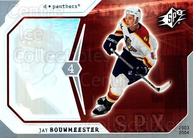 2003-04 SPx #42 Jay Bouwmeester<br/>4 In Stock - $1.00 each - <a href=https://centericecollectibles.foxycart.com/cart?name=2003-04%20SPx%20%2342%20Jay%20Bouwmeester...&quantity_max=4&price=$1.00&code=118272 class=foxycart> Buy it now! </a>