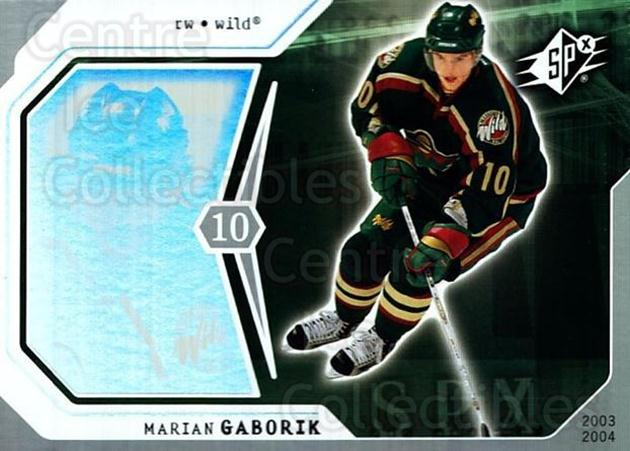 2003-04 SPx #47 Marian Gaborik<br/>4 In Stock - $1.00 each - <a href=https://centericecollectibles.foxycart.com/cart?name=2003-04%20SPx%20%2347%20Marian%20Gaborik...&quantity_max=4&price=$1.00&code=118277 class=foxycart> Buy it now! </a>