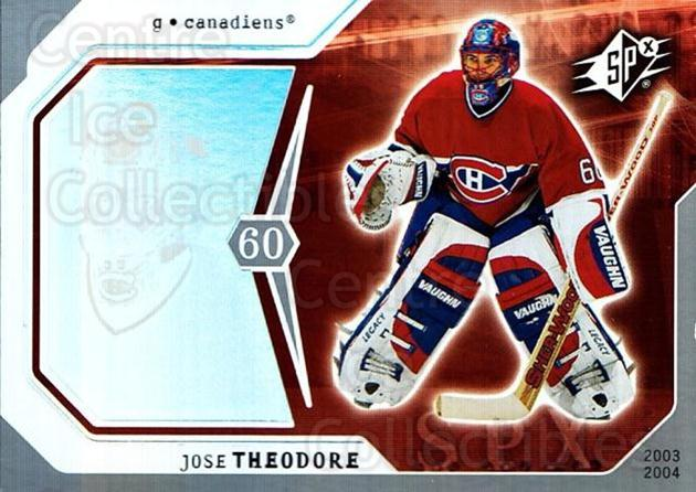 2003-04 SPx #50 Jose Theodore<br/>4 In Stock - $1.00 each - <a href=https://centericecollectibles.foxycart.com/cart?name=2003-04%20SPx%20%2350%20Jose%20Theodore...&quantity_max=4&price=$1.00&code=118281 class=foxycart> Buy it now! </a>