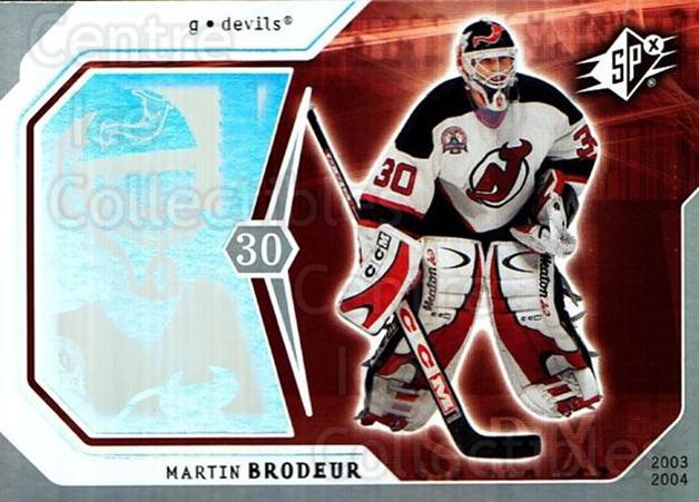 2003-04 SPx #57 Martin Brodeur<br/>1 In Stock - $2.00 each - <a href=https://centericecollectibles.foxycart.com/cart?name=2003-04%20SPx%20%2357%20Martin%20Brodeur...&quantity_max=1&price=$2.00&code=118288 class=foxycart> Buy it now! </a>