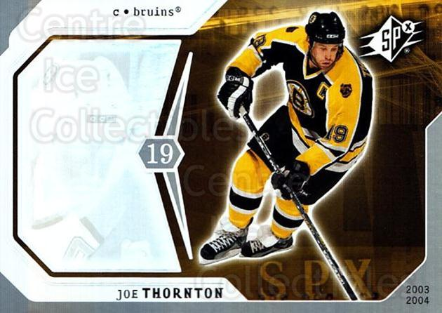 2003-04 SPx #6 Joe Thornton<br/>4 In Stock - $1.00 each - <a href=https://centericecollectibles.foxycart.com/cart?name=2003-04%20SPx%20%236%20Joe%20Thornton...&quantity_max=4&price=$1.00&code=118291 class=foxycart> Buy it now! </a>