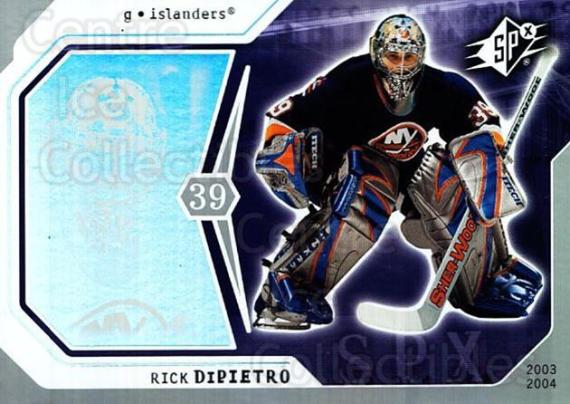 2003-04 SPx #61 Rick DiPietro<br/>5 In Stock - $1.00 each - <a href=https://centericecollectibles.foxycart.com/cart?name=2003-04%20SPx%20%2361%20Rick%20DiPietro...&quantity_max=5&price=$1.00&code=118293 class=foxycart> Buy it now! </a>