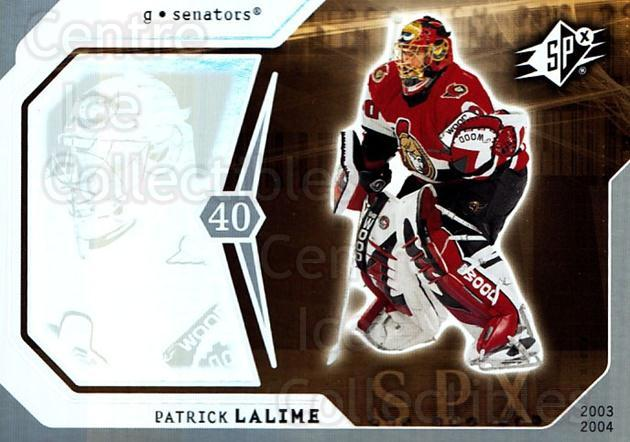 2003-04 SPx #66 Patrick Lalime<br/>5 In Stock - $1.00 each - <a href=https://centericecollectibles.foxycart.com/cart?name=2003-04%20SPx%20%2366%20Patrick%20Lalime...&quantity_max=5&price=$1.00&code=118298 class=foxycart> Buy it now! </a>