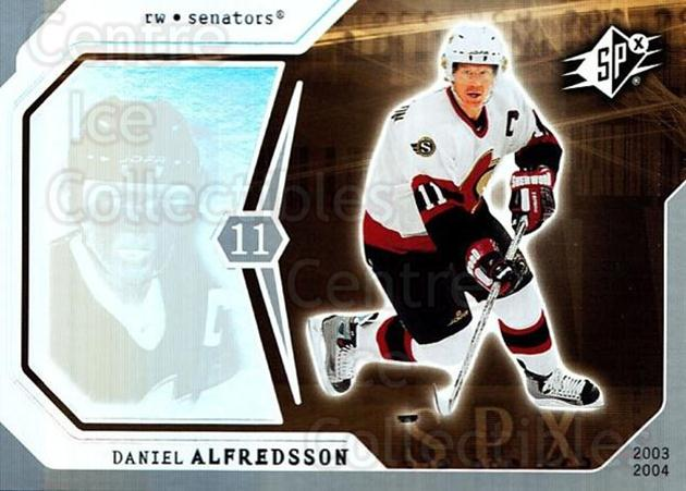 2003-04 SPx #68 Daniel Alfredsson<br/>7 In Stock - $1.00 each - <a href=https://centericecollectibles.foxycart.com/cart?name=2003-04%20SPx%20%2368%20Daniel%20Alfredss...&quantity_max=7&price=$1.00&code=118300 class=foxycart> Buy it now! </a>