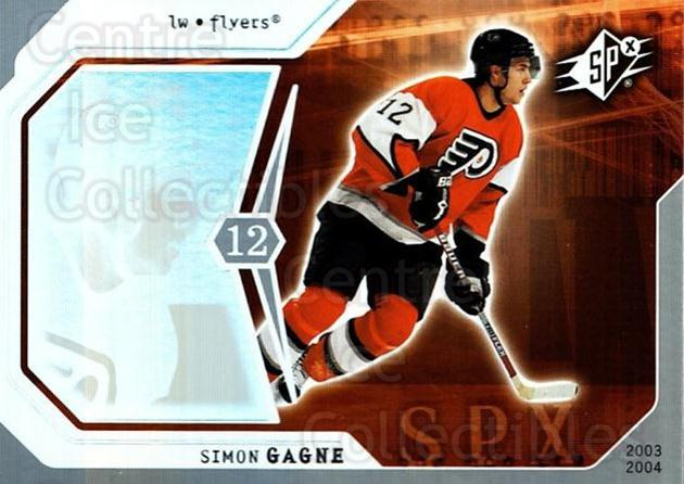 2003-04 SPx #72 Simon Gagne<br/>4 In Stock - $1.00 each - <a href=https://centericecollectibles.foxycart.com/cart?name=2003-04%20SPx%20%2372%20Simon%20Gagne...&quantity_max=4&price=$1.00&code=118305 class=foxycart> Buy it now! </a>