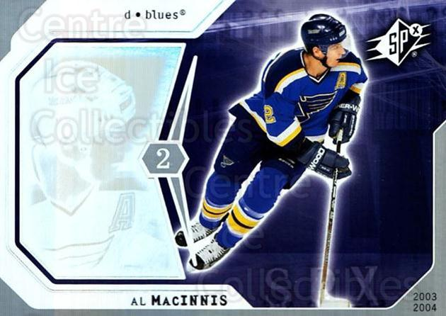 2003-04 SPx #84 Al MacInnis<br/>10 In Stock - $1.00 each - <a href=https://centericecollectibles.foxycart.com/cart?name=2003-04%20SPx%20%2384%20Al%20MacInnis...&quantity_max=10&price=$1.00&code=118317 class=foxycart> Buy it now! </a>