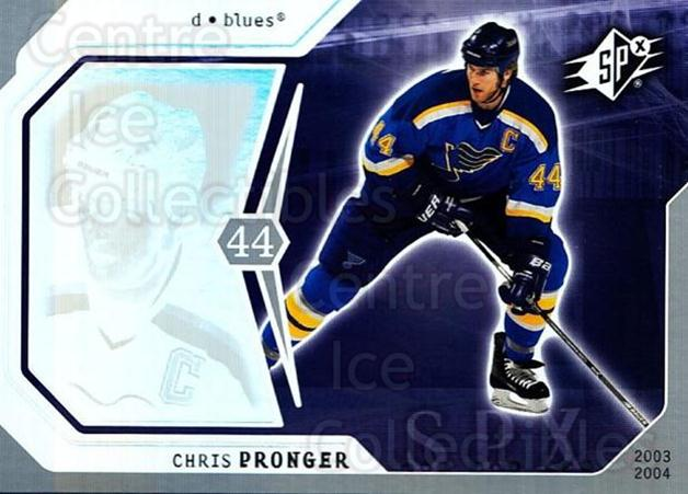2003-04 SPx #86 Chris Pronger<br/>5 In Stock - $1.00 each - <a href=https://centericecollectibles.foxycart.com/cart?name=2003-04%20SPx%20%2386%20Chris%20Pronger...&quantity_max=5&price=$1.00&code=118319 class=foxycart> Buy it now! </a>