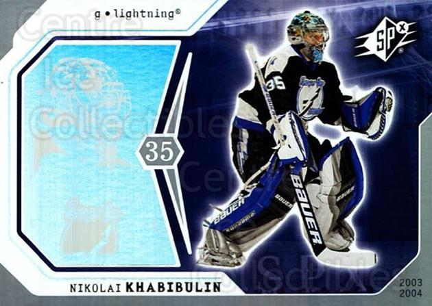 2003-04 SPx #87 Nikolai Khabibulin<br/>8 In Stock - $1.00 each - <a href=https://centericecollectibles.foxycart.com/cart?name=2003-04%20SPx%20%2387%20Nikolai%20Khabibu...&quantity_max=8&price=$1.00&code=118320 class=foxycart> Buy it now! </a>