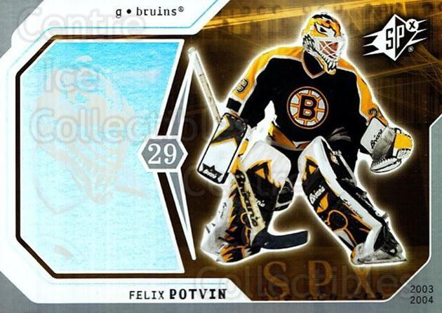 2003-04 SPx #9 Felix Potvin<br/>3 In Stock - $1.00 each - <a href=https://centericecollectibles.foxycart.com/cart?name=2003-04%20SPx%20%239%20Felix%20Potvin...&quantity_max=3&price=$1.00&code=118323 class=foxycart> Buy it now! </a>