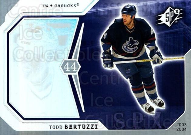 2003-04 SPx #96 Todd Bertuzzi<br/>6 In Stock - $1.00 each - <a href=https://centericecollectibles.foxycart.com/cart?name=2003-04%20SPx%20%2396%20Todd%20Bertuzzi...&quantity_max=6&price=$1.00&code=118330 class=foxycart> Buy it now! </a>