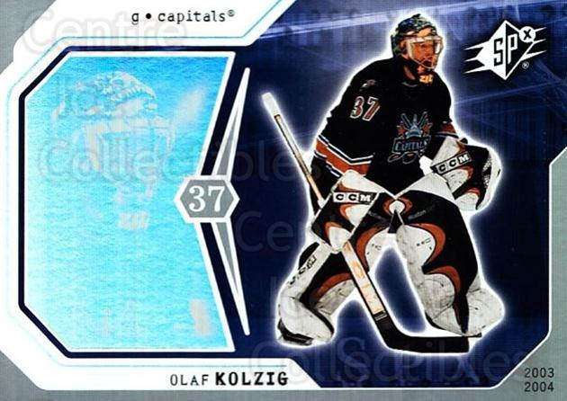 2003-04 SPx #99 Olaf Kolzig<br/>6 In Stock - $1.00 each - <a href=https://centericecollectibles.foxycart.com/cart?name=2003-04%20SPx%20%2399%20Olaf%20Kolzig...&quantity_max=6&price=$1.00&code=118333 class=foxycart> Buy it now! </a>