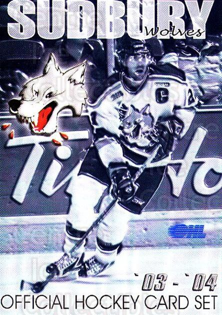 2003-04 Sudbury Wolves #1 Header Card, Checklist<br/>3 In Stock - $3.00 each - <a href=https://centericecollectibles.foxycart.com/cart?name=2003-04%20Sudbury%20Wolves%20%231%20Header%20Card,%20Ch...&price=$3.00&code=118360 class=foxycart> Buy it now! </a>