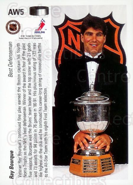 1991-92 Upper Deck Award Winner Holograms #5 Ray Bourque, Norris Trophy<br/>1 In Stock - $2.00 each - <a href=https://centericecollectibles.foxycart.com/cart?name=1991-92%20Upper%20Deck%20Award%20Winner%20Holograms%20%235%20Ray%20Bourque,%20No...&quantity_max=1&price=$2.00&code=11851 class=foxycart> Buy it now! </a>