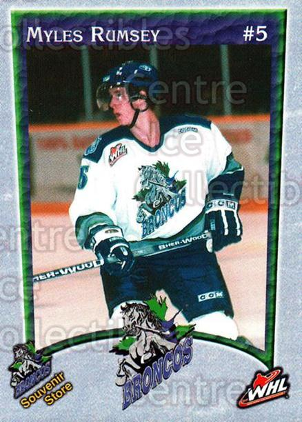 2003-04 Swift Current Broncos #15 Myles Rumsey<br/>5 In Stock - $3.00 each - <a href=https://centericecollectibles.foxycart.com/cart?name=2003-04%20Swift%20Current%20Broncos%20%2315%20Myles%20Rumsey...&quantity_max=5&price=$3.00&code=118562 class=foxycart> Buy it now! </a>