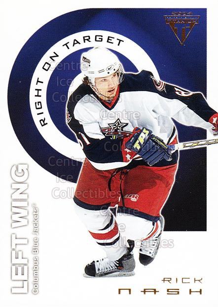 2003-04 Titanium Right on Target #4 Rick Nash<br/>8 In Stock - $2.00 each - <a href=https://centericecollectibles.foxycart.com/cart?name=2003-04%20Titanium%20Right%20on%20Target%20%234%20Rick%20Nash...&quantity_max=8&price=$2.00&code=118704 class=foxycart> Buy it now! </a>