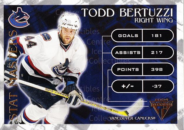 2003-04 Titanium Stat Masters #9 Todd Bertuzzi<br/>5 In Stock - $3.00 each - <a href=https://centericecollectibles.foxycart.com/cart?name=2003-04%20Titanium%20Stat%20Masters%20%239%20Todd%20Bertuzzi...&quantity_max=5&price=$3.00&code=118713 class=foxycart> Buy it now! </a>