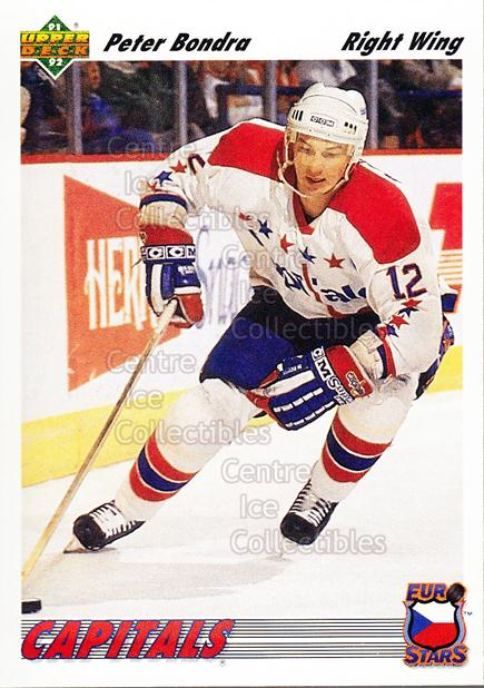 1991-92 Upper Deck Euro-Stars #12 Peter Bondra<br/>17 In Stock - $1.00 each - <a href=https://centericecollectibles.foxycart.com/cart?name=1991-92%20Upper%20Deck%20Euro-Stars%20%2312%20Peter%20Bondra...&quantity_max=17&price=$1.00&code=11987 class=foxycart> Buy it now! </a>