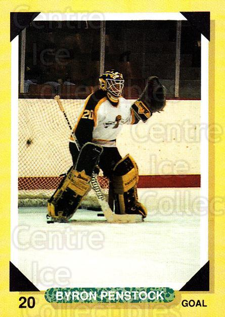 1992-93 Brandon Wheat Kings #1 Byron Penstock<br/>1 In Stock - $3.00 each - <a href=https://centericecollectibles.foxycart.com/cart?name=1992-93%20Brandon%20Wheat%20Kings%20%231%20Byron%20Penstock...&quantity_max=1&price=$3.00&code=12004 class=foxycart> Buy it now! </a>