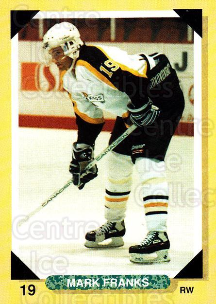 1992-93 Brandon Wheat Kings #15 Mark Franks<br/>3 In Stock - $3.00 each - <a href=https://centericecollectibles.foxycart.com/cart?name=1992-93%20Brandon%20Wheat%20Kings%20%2315%20Mark%20Franks...&quantity_max=3&price=$3.00&code=12010 class=foxycart> Buy it now! </a>