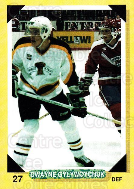 1992-93 Brandon Wheat Kings #20 Dwayne Gylywoychuk<br/>3 In Stock - $3.00 each - <a href=https://centericecollectibles.foxycart.com/cart?name=1992-93%20Brandon%20Wheat%20Kings%20%2320%20Dwayne%20Gylywoyc...&quantity_max=3&price=$3.00&code=12012 class=foxycart> Buy it now! </a>