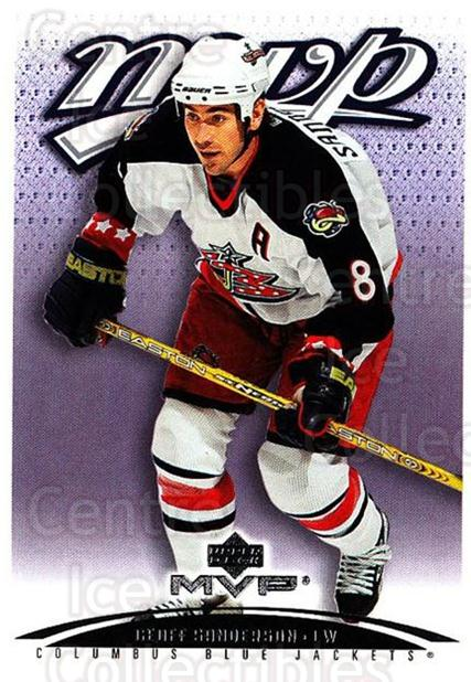2003-04 Upper Deck MVP #116 Geoff Sanderson<br/>4 In Stock - $1.00 each - <a href=https://centericecollectibles.foxycart.com/cart?name=2003-04%20Upper%20Deck%20MVP%20%23116%20Geoff%20Sanderson...&quantity_max=4&price=$1.00&code=120560 class=foxycart> Buy it now! </a>
