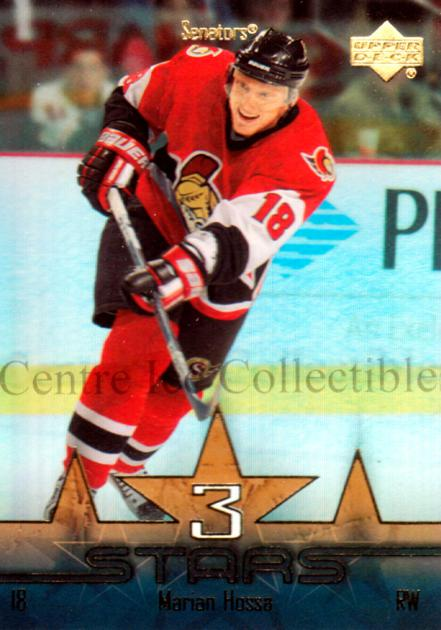 2003-04 Upper Deck Three Stars #2 Marian Hossa<br/>6 In Stock - $3.00 each - <a href=https://centericecollectibles.foxycart.com/cart?name=2003-04%20Upper%20Deck%20Three%20Stars%20%232%20Marian%20Hossa...&quantity_max=6&price=$3.00&code=120812 class=foxycart> Buy it now! </a>