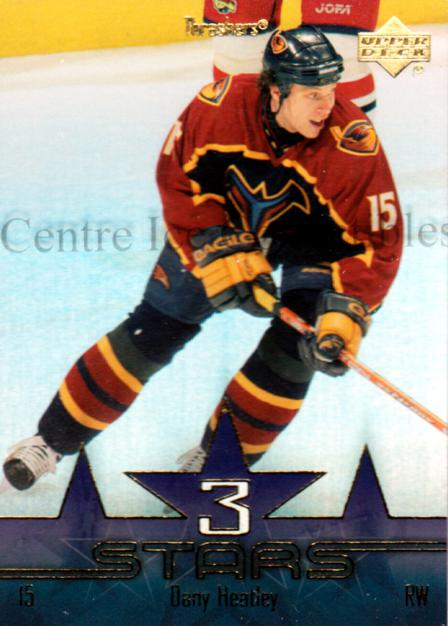 2003-04 Upper Deck Three Stars #3 Dany Heatley<br/>7 In Stock - $3.00 each - <a href=https://centericecollectibles.foxycart.com/cart?name=2003-04%20Upper%20Deck%20Three%20Stars%20%233%20Dany%20Heatley...&quantity_max=7&price=$3.00&code=120813 class=foxycart> Buy it now! </a>
