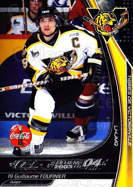 2003-04 Victoriaville Tigres #11 Guillaume Fournier<br/>2 In Stock - $3.00 each - <a href=https://centericecollectibles.foxycart.com/cart?name=2003-04%20Victoriaville%20Tigres%20%2311%20Guillaume%20Fourn...&quantity_max=2&price=$3.00&code=121178 class=foxycart> Buy it now! </a>