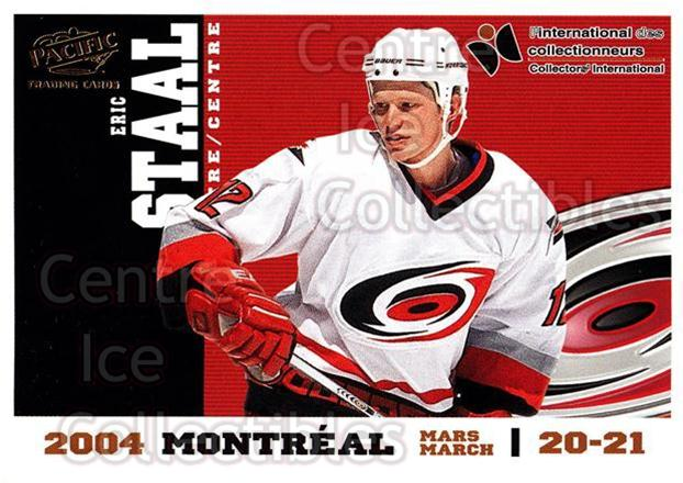 2004 Pacific Montreal International Redemption Gold #2 Eric Staal<br/>1 In Stock - $5.00 each - <a href=https://centericecollectibles.foxycart.com/cart?name=2004%20Pacific%20Montreal%20International%20Redemption%20Gold%20%232%20Eric%20Staal...&quantity_max=1&price=$5.00&code=121285 class=foxycart> Buy it now! </a>