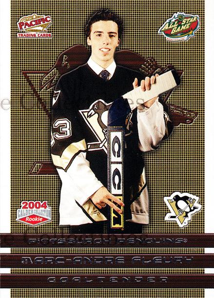 2004 Pacific Calder AS Redemption #8 Marc-Andre Fleury<br/>3 In Stock - $5.00 each - <a href=https://centericecollectibles.foxycart.com/cart?name=2004%20Pacific%20Calder%20AS%20Redemption%20%238%20Marc-Andre%20Fleu...&quantity_max=3&price=$5.00&code=121302 class=foxycart> Buy it now! </a>