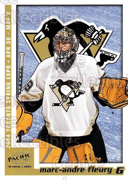2004 Pacific Toronto Spring Expo Redemption #7 Marc-Andre Fleury<br/>1 In Stock - $5.00 each - <a href=https://centericecollectibles.foxycart.com/cart?name=2004%20Pacific%20Toronto%20Spring%20Expo%20Redemption%20%237%20Marc-Andre%20Fleu...&quantity_max=1&price=$5.00&code=121326 class=foxycart> Buy it now! </a>