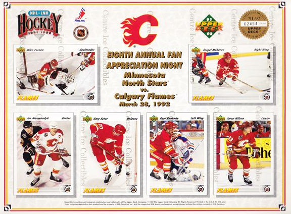 1991-92 Upper Deck Sheets #2 Mike Vernon, Sergei Makarov, Joe Nieuwendyk, Gary Suter, Paul Ranheim, Carey Wilson<br/>9 In Stock - $10.00 each - <a href=https://centericecollectibles.foxycart.com/cart?name=1991-92%20Upper%20Deck%20Sheets%20%232%20Mike%20Vernon,%20Se...&quantity_max=9&price=$10.00&code=12167 class=foxycart> Buy it now! </a>