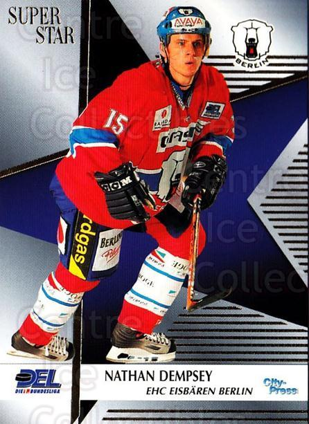 2004-05 German DEL Superstars #7 Nathan Dempsey<br/>1 In Stock - $3.00 each - <a href=https://centericecollectibles.foxycart.com/cart?name=2004-05%20German%20DEL%20Superstars%20%237%20Nathan%20Dempsey...&quantity_max=1&price=$3.00&code=122171 class=foxycart> Buy it now! </a>