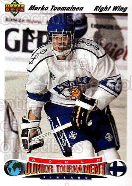 1991-92 Upper Deck #675 Marko Tuomainen<br/>7 In Stock - $1.00 each - <a href=https://centericecollectibles.foxycart.com/cart?name=1991-92%20Upper%20Deck%20%23675%20Marko%20Tuomainen...&price=$1.00&code=12259 class=foxycart> Buy it now! </a>