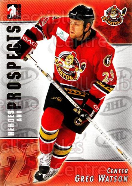 2004-05 ITG Heroes and Prospects #17 Greg Watson<br/>18 In Stock - $1.00 each - <a href=https://centericecollectibles.foxycart.com/cart?name=2004-05%20ITG%20Heroes%20and%20Prospects%20%2317%20Greg%20Watson...&quantity_max=18&price=$1.00&code=122996 class=foxycart> Buy it now! </a>