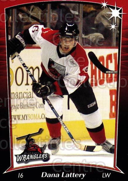 2004-05 Las Vegas Wranglers #9 Dana Lattery<br/>3 In Stock - $3.00 each - <a href=https://centericecollectibles.foxycart.com/cart?name=2004-05%20Las%20Vegas%20Wranglers%20%239%20Dana%20Lattery...&quantity_max=3&price=$3.00&code=123161 class=foxycart> Buy it now! </a>
