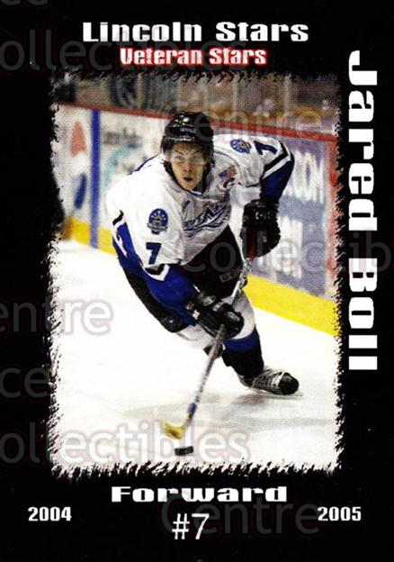 2004-05 Lincoln Stars #39 Jared Boll<br/>7 In Stock - $3.00 each - <a href=https://centericecollectibles.foxycart.com/cart?name=2004-05%20Lincoln%20Stars%20%2339%20Jared%20Boll...&price=$3.00&code=123169 class=foxycart> Buy it now! </a>