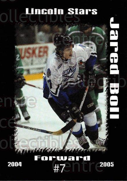 2004-05 Lincoln Stars #4 Jared Boll<br/>2 In Stock - $3.00 each - <a href=https://centericecollectibles.foxycart.com/cart?name=2004-05%20Lincoln%20Stars%20%234%20Jared%20Boll...&price=$3.00&code=123203 class=foxycart> Buy it now! </a>