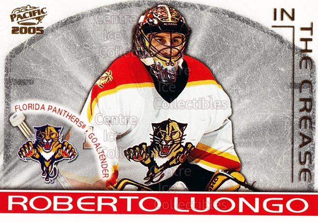 2004-05 Pacific In The Crease #6 Roberto Luongo<br/>3 In Stock - $3.00 each - <a href=https://centericecollectibles.foxycart.com/cart?name=2004-05%20Pacific%20In%20The%20Crease%20%236%20Roberto%20Luongo...&quantity_max=3&price=$3.00&code=123355 class=foxycart> Buy it now! </a>