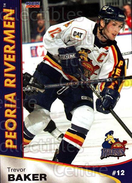 2004-05 Peoria Rivermen #8 Trevor Baker<br/>9 In Stock - $3.00 each - <a href=https://centericecollectibles.foxycart.com/cart?name=2004-05%20Peoria%20Rivermen%20%238%20Trevor%20Baker...&price=$3.00&code=123662 class=foxycart> Buy it now! </a>