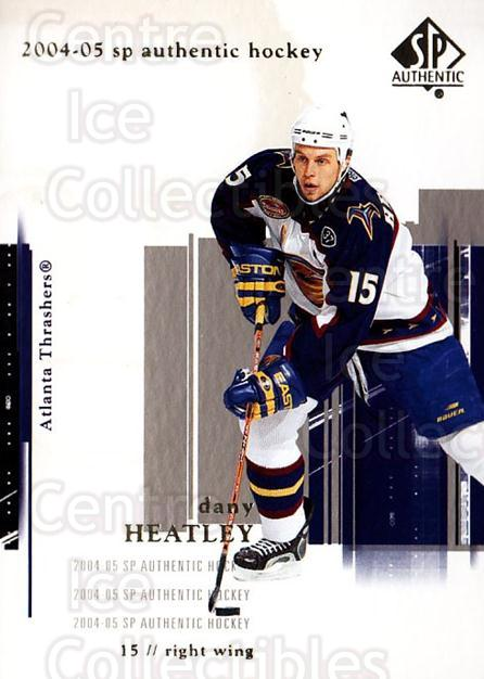 2004-05 SP Authentic #4 Dany Heatley<br/>6 In Stock - $1.00 each - <a href=https://centericecollectibles.foxycart.com/cart?name=2004-05%20SP%20Authentic%20%234%20Dany%20Heatley...&quantity_max=6&price=$1.00&code=123936 class=foxycart> Buy it now! </a>