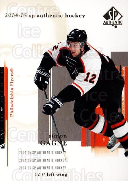 2004-05 SP Authentic #67 Simon Gagne<br/>6 In Stock - $1.00 each - <a href=https://centericecollectibles.foxycart.com/cart?name=2004-05%20SP%20Authentic%20%2367%20Simon%20Gagne...&quantity_max=6&price=$1.00&code=123966 class=foxycart> Buy it now! </a>