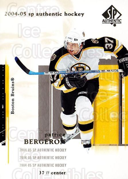 2004-05 SP Authentic #9 Patrice Bergeron<br/>5 In Stock - $2.00 each - <a href=https://centericecollectibles.foxycart.com/cart?name=2004-05%20SP%20Authentic%20%239%20Patrice%20Bergero...&quantity_max=5&price=$2.00&code=123990 class=foxycart> Buy it now! </a>