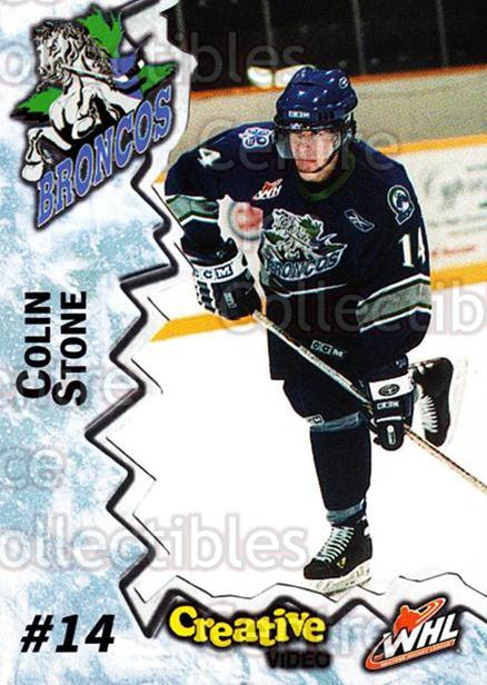 2004-05 Swift Current Broncos #21 Colin Stone<br/>10 In Stock - $3.00 each - <a href=https://centericecollectibles.foxycart.com/cart?name=2004-05%20Swift%20Current%20Broncos%20%2321%20Colin%20Stone...&quantity_max=10&price=$3.00&code=124335 class=foxycart> Buy it now! </a>